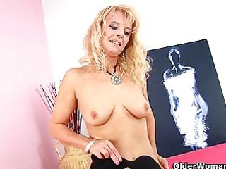 golden-haired grandma in darksome stockings