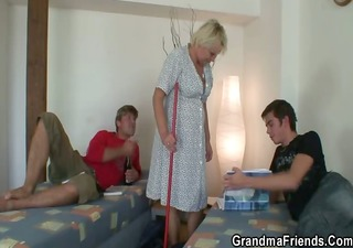 old cleaning woman is gangbanged by chaps