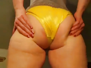 wife in satin pants