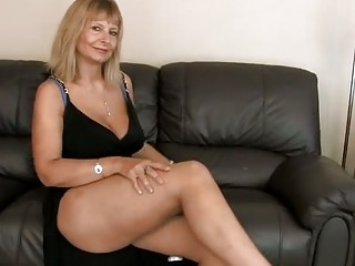 breasty aged fingering her bushy pussy