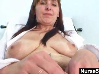 older mama karin shows off shaggy pussy bizarre