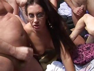 9 ladies have a older non-professional orgy