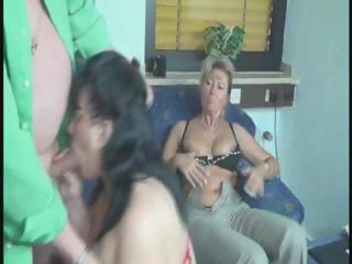 two big older women share this old boys cock and
