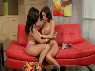 two hawt dark brown milfs do a 29 then share a
