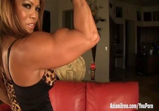 older female bodybuilder dd plays with her big