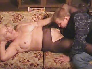 old blonde granny in pantyhose sucks and bonks