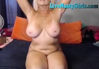 big boobed granny stretches her muff 6