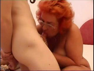 horny redhead granny blows pounder and acquires
