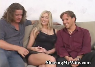 sexy golden-haired wifey with fresh lad