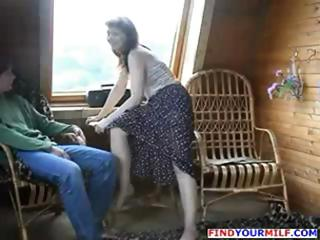 brunette hair russian mom seduces sons friend and