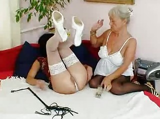 curly granny licks hot milf in lesbo act