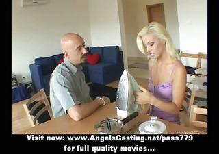 blonde hot bride lady doing blowjob in livingroom