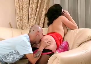 older anal in lingerie