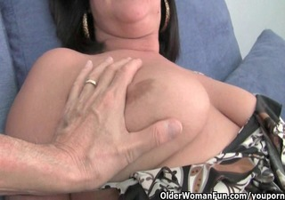 breasty aged mommy in white panties and hose