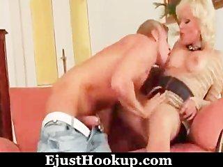 blond mamma and juvenile boy