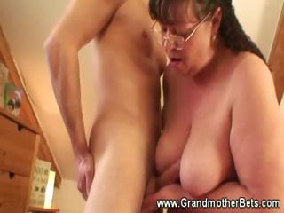 obese granny rides horny youthful wang