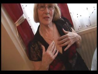 bushy granny in pantyhose striptease