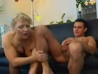 bulky mature russian blond eats his rod and gets