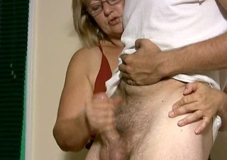 aged chubby blonde can giving hand jobs