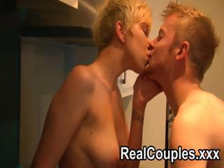 sexually excited blond wife swallows his meat and